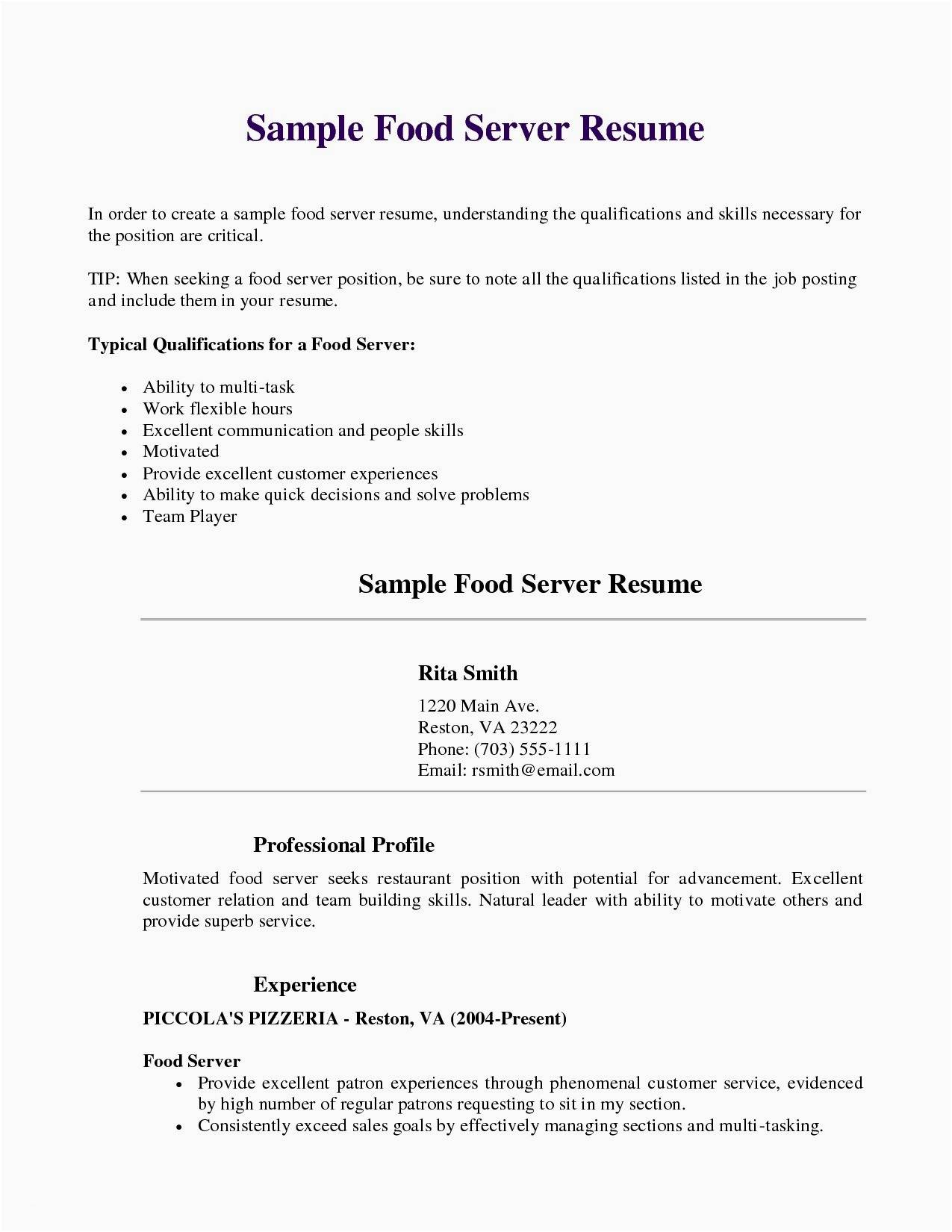 Resume Templates For Servers
