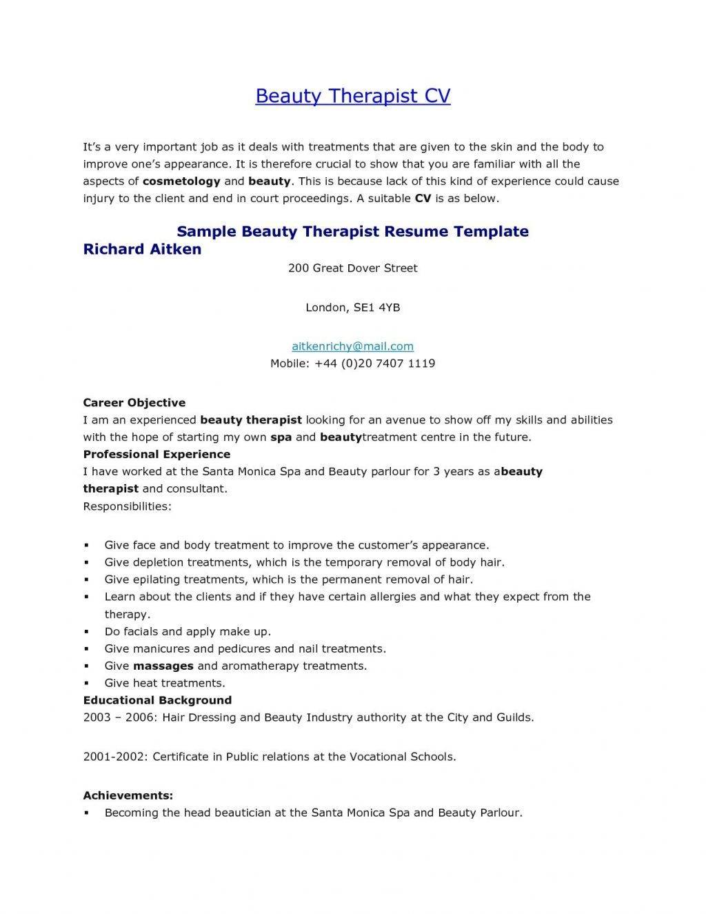 Resume Templates For Spa Receptionist