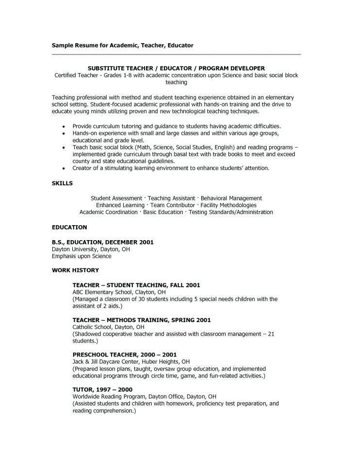Resume Templates For Substitute Teacher