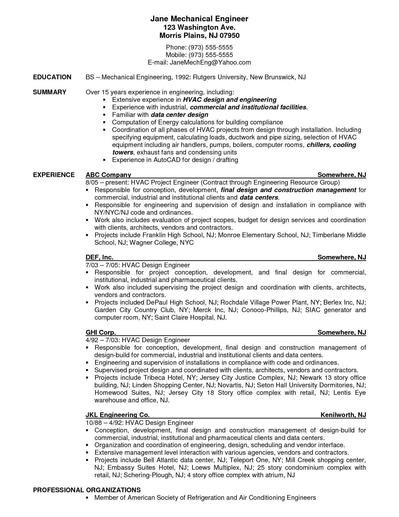 Resume Templates For Test Engineers