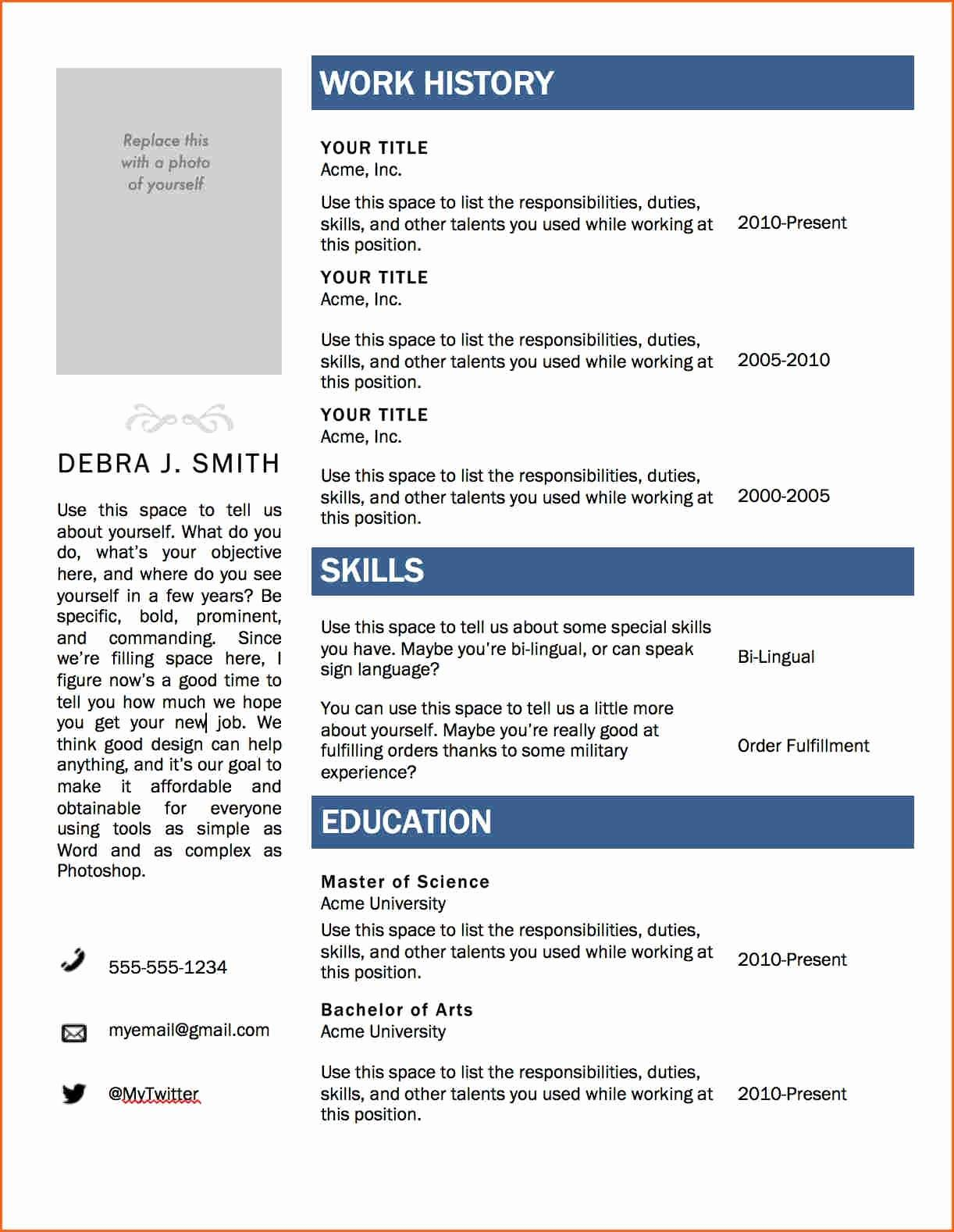 Resume Templates Microsoft Word 2007
