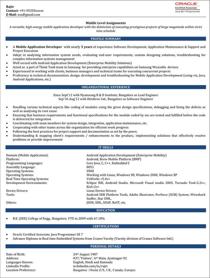 Resume Templates Word Download For Experienced
