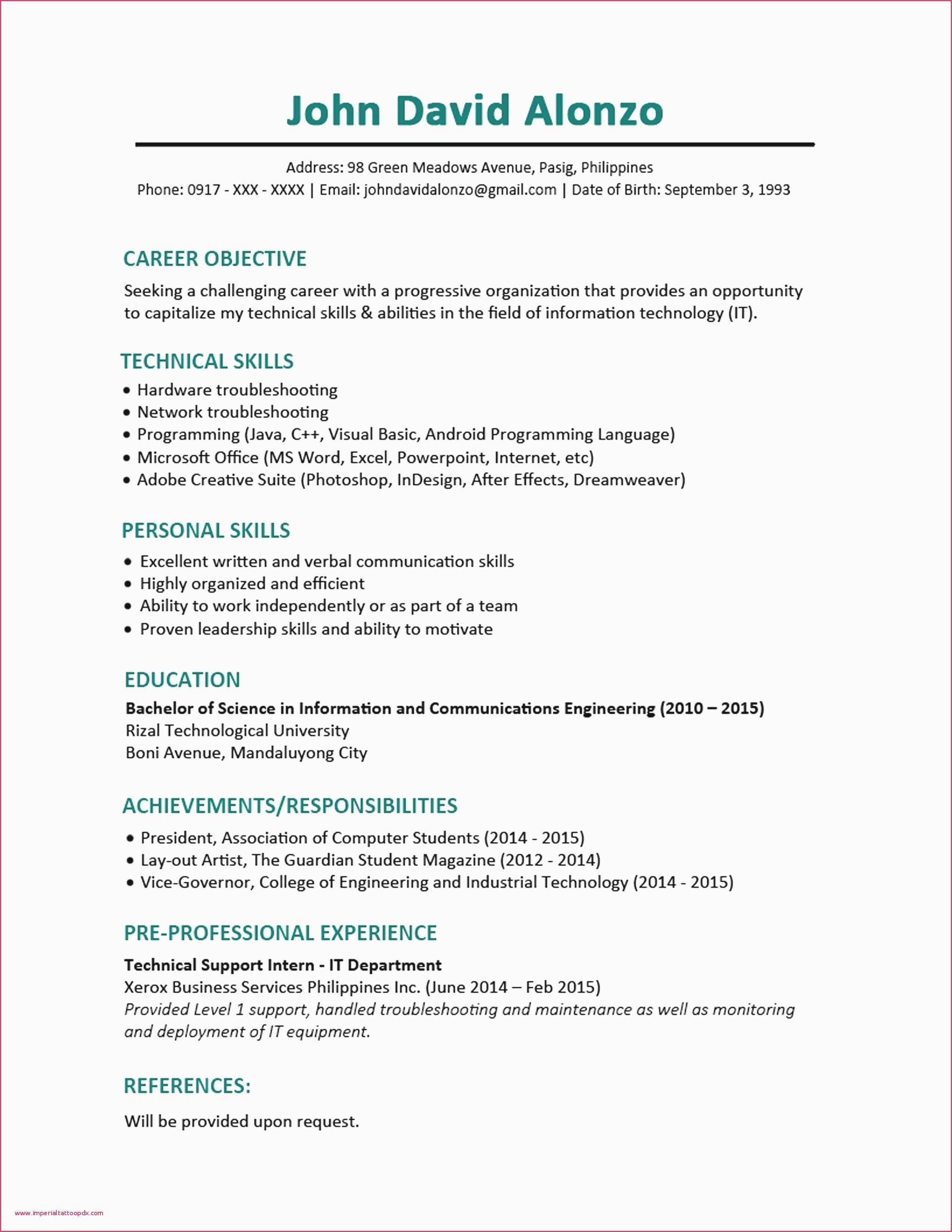 Resume Templates Word Mechanical Engineer