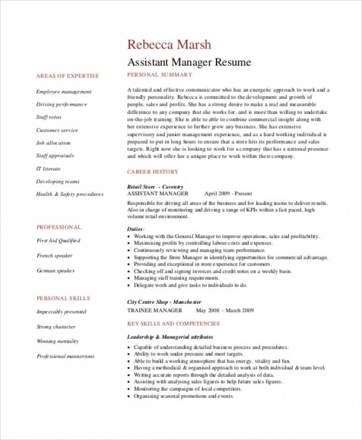 Retail Assistant Manager Resume Template