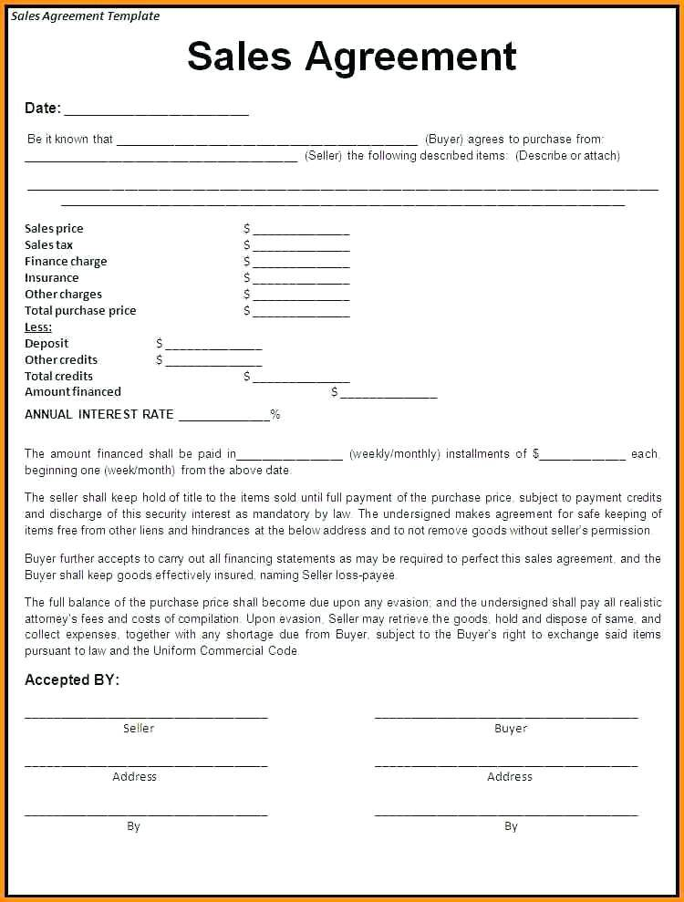 Retail Installment Agreement Template