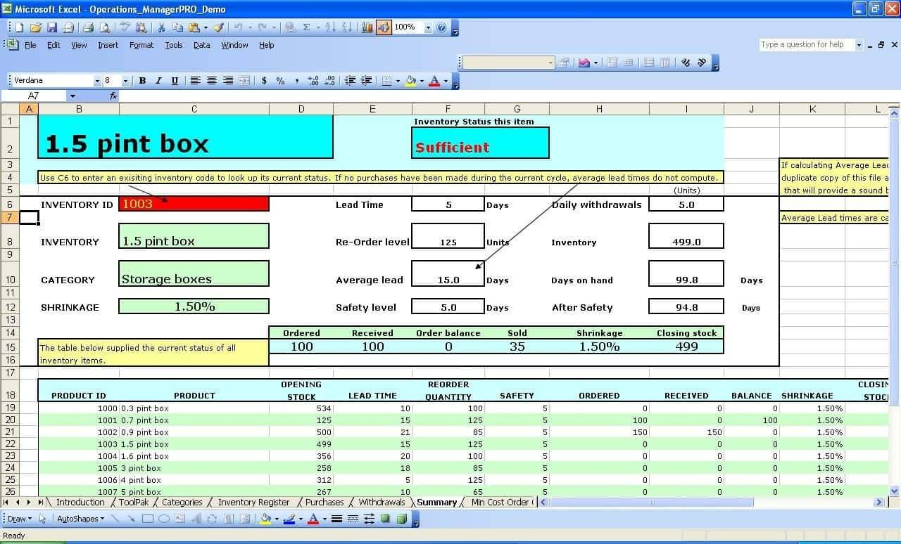Retail Inventory Management Excel Template