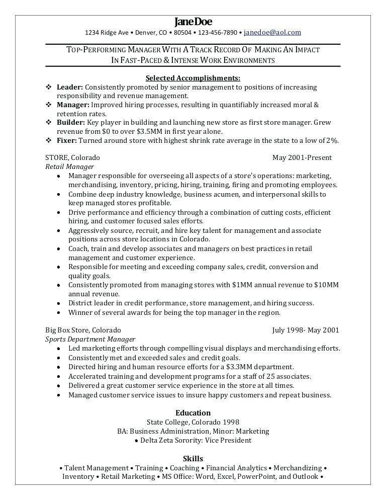 Retail Store Manager Cv Template