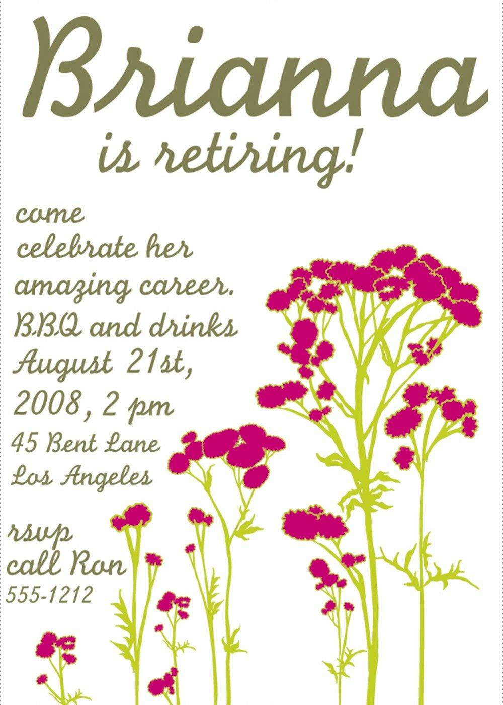 Retirement Party Invitations Free Template