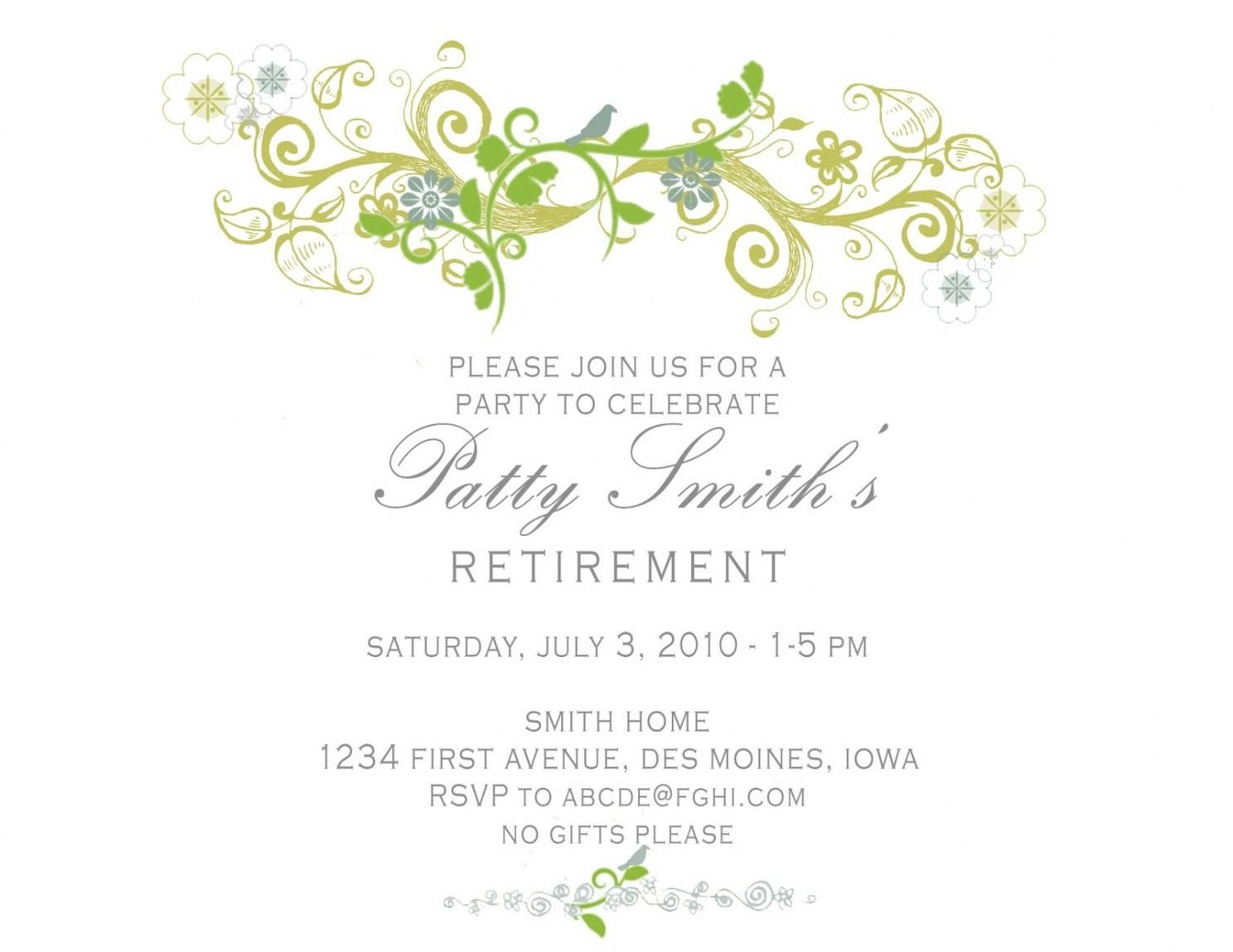 Retirement Party Invite Template