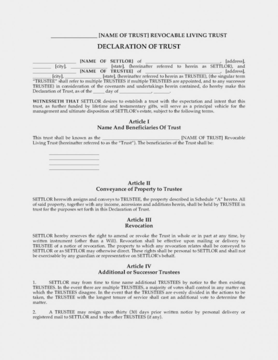 Revocable Trust Amendment Template