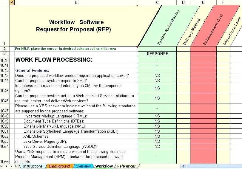 Rfp Comparison Matrix Template