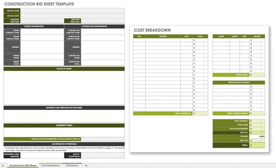 Rfp Comparison Template Excel