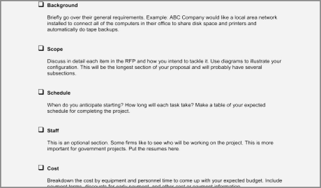 Rfp Requirements Template