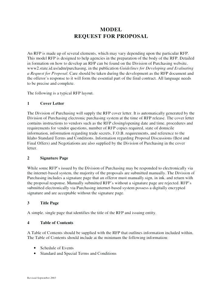 Rfp Response Template Example