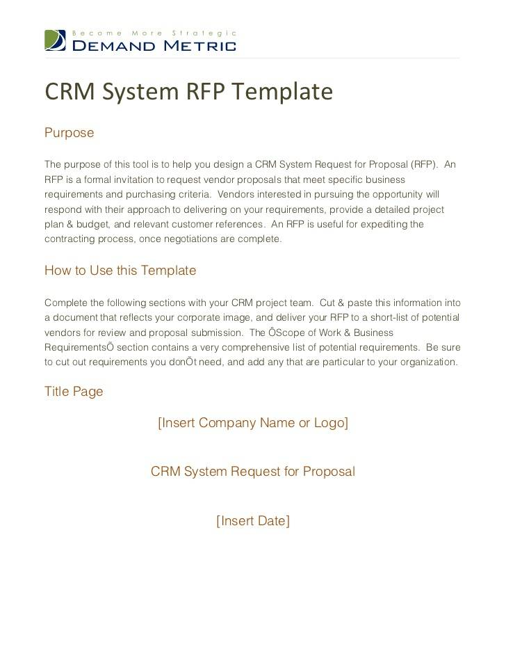 Rfp Template Crm System
