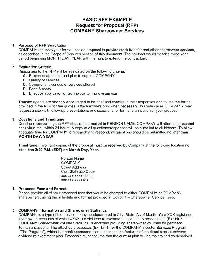 Rfp Vendor Response Template