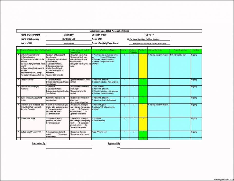Risk Assessment Template Xls