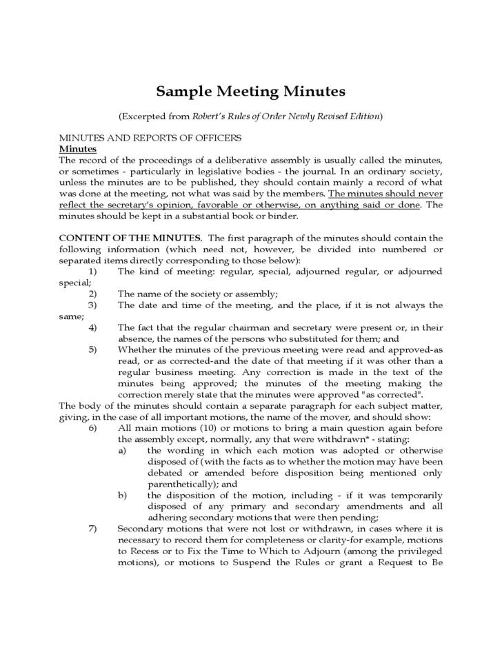 Robert's Rules Of Order Meeting Minutes Sample