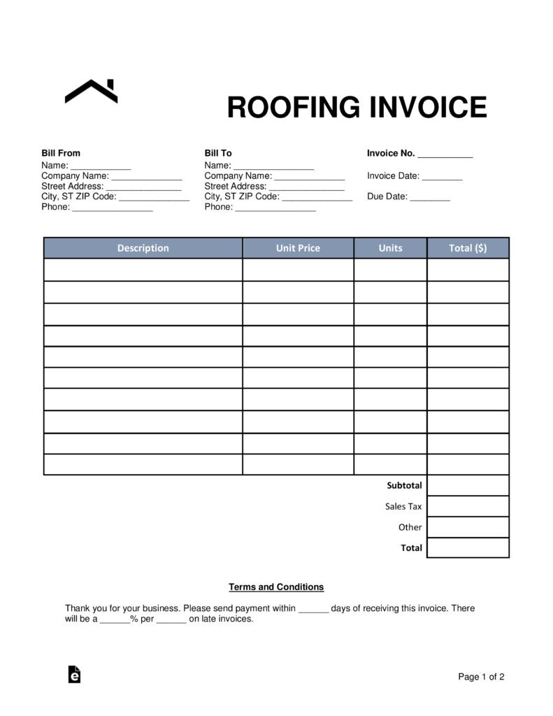 Roofing Invoice Templates
