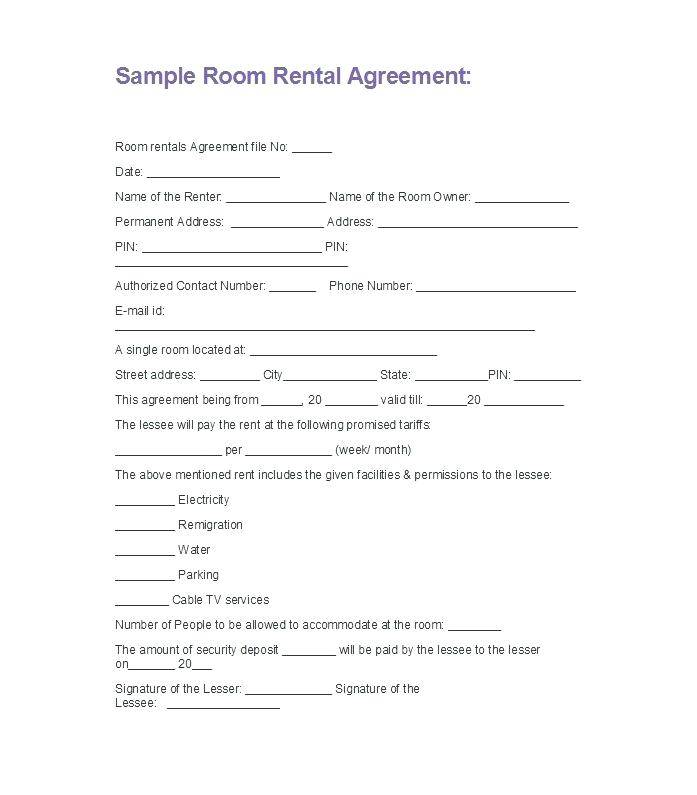 Room Rent Contract Form Uk