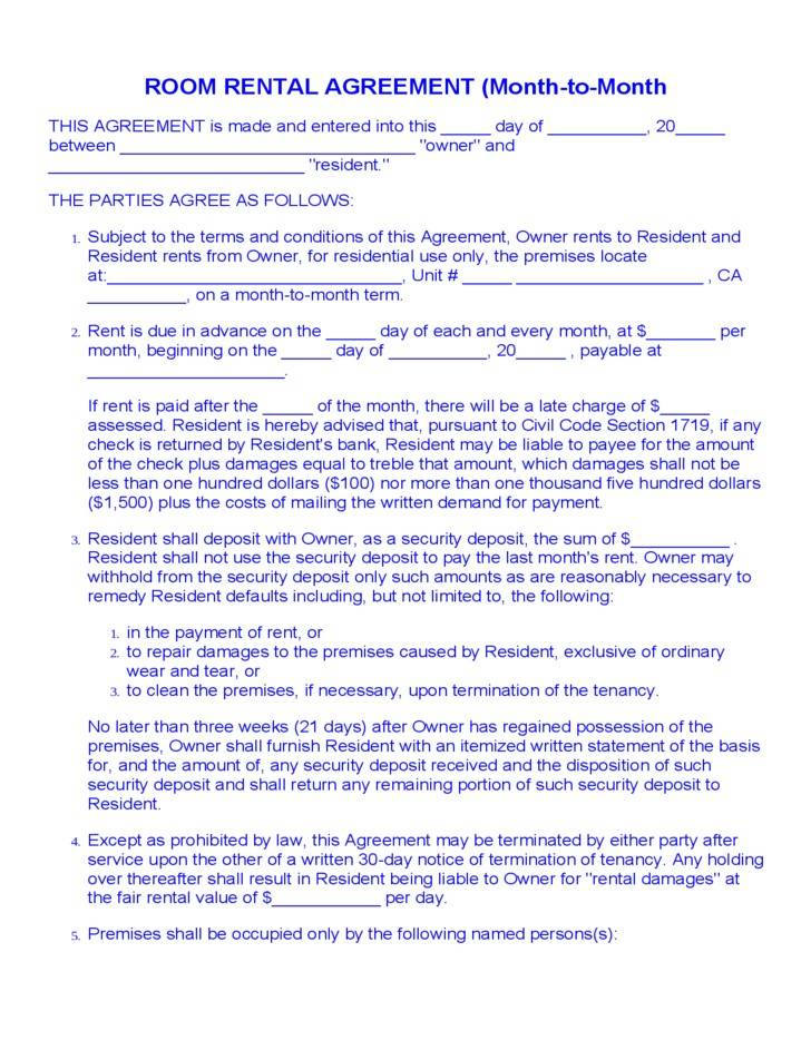 Room Rental Agreement Florida Template
