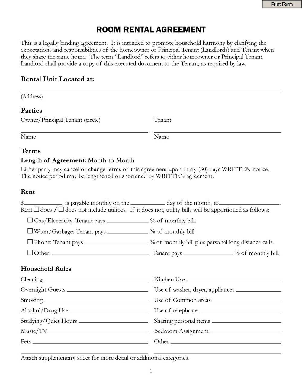 Room Rental Agreement Template Doc