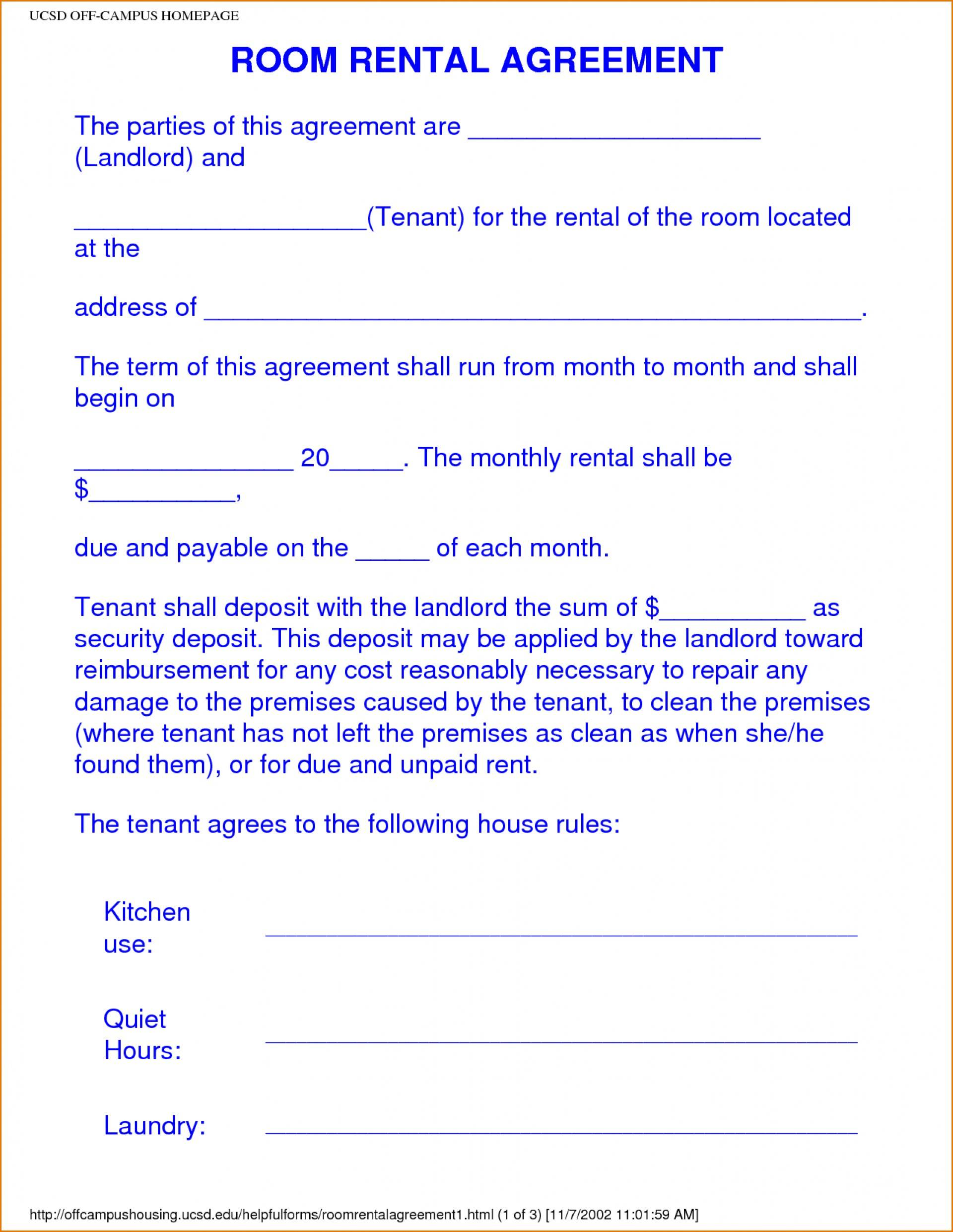 Room Rental Agreement Template Florida