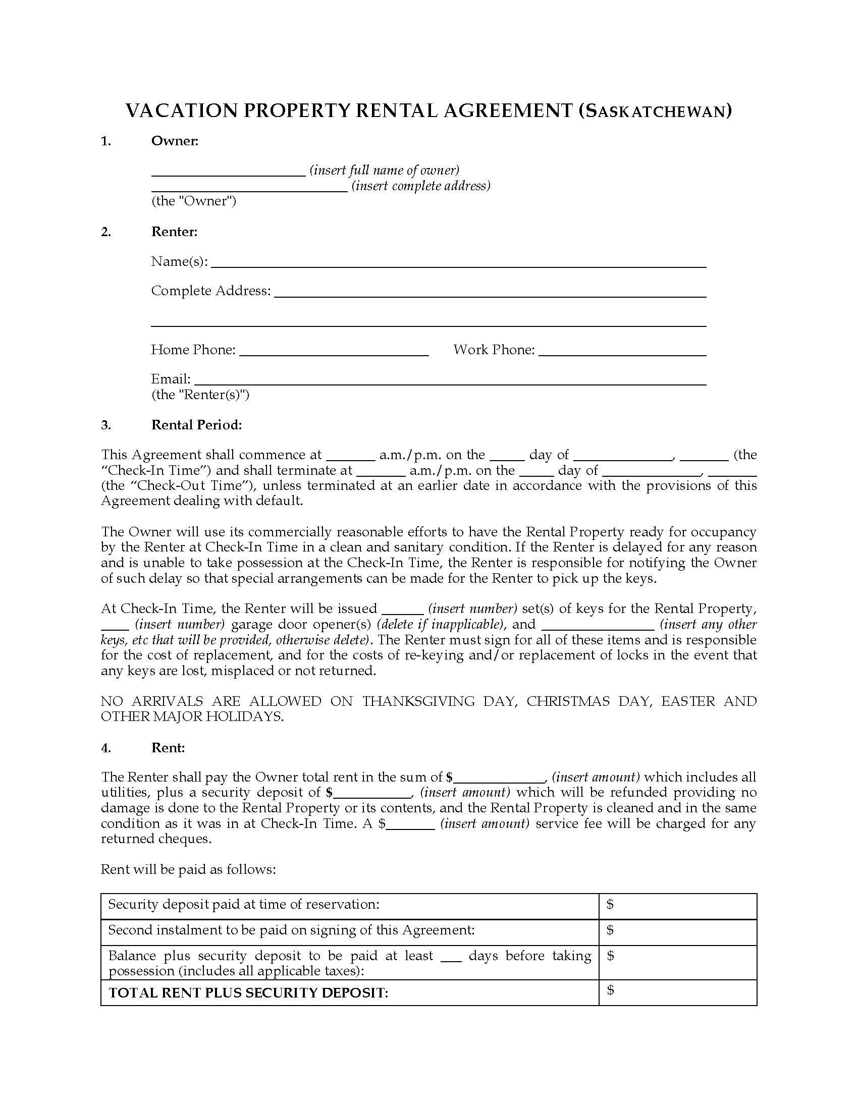 Room Rental Agreement Template Saskatchewan