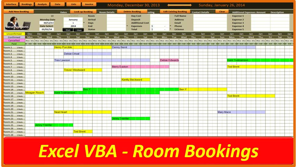 Room Scheduling Template Excel