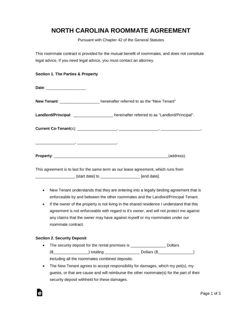 Roommate Agreement Template Alberta