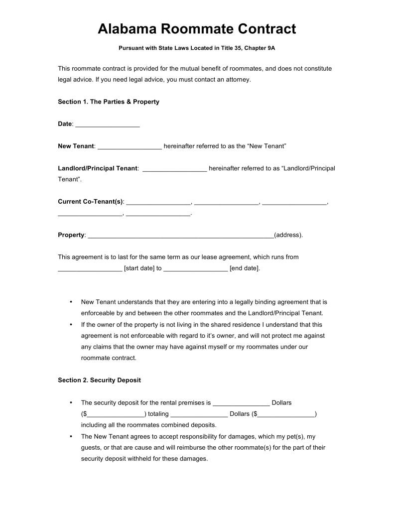 Roommate Agreement Template Australia