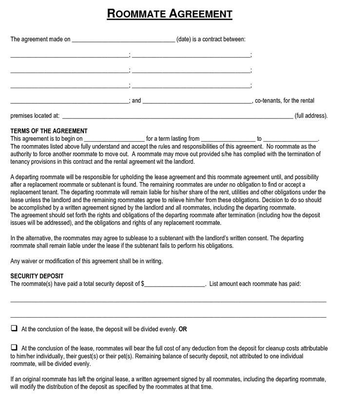 Roommate Agreement Template Bc