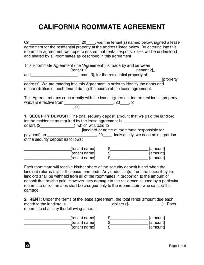 Roommate Agreement Template California