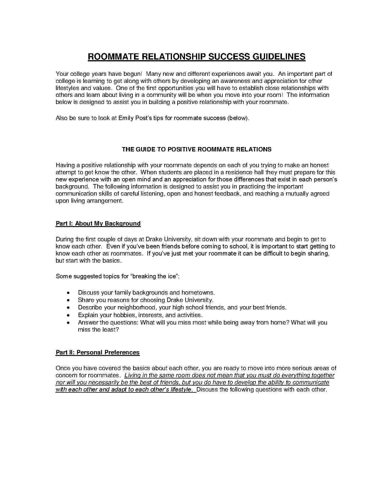 Roommate Agreement Template Free Download