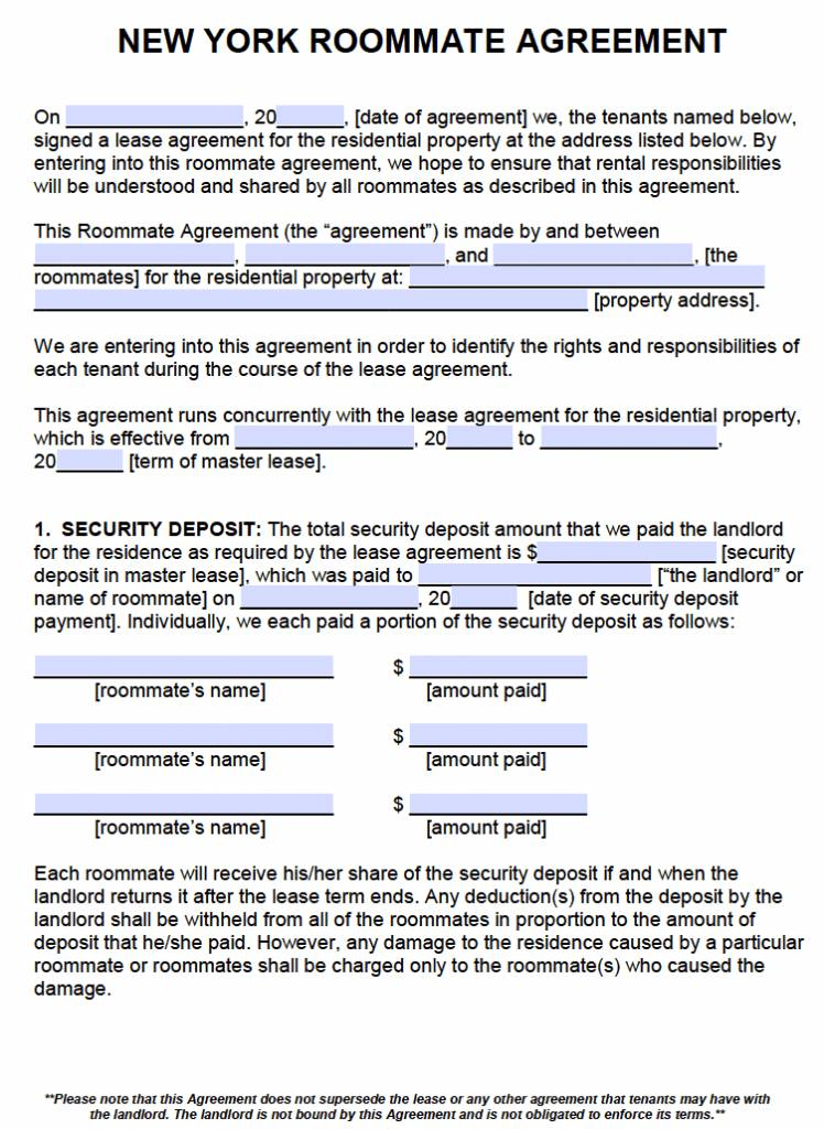 Roommate Agreement Template Nyc