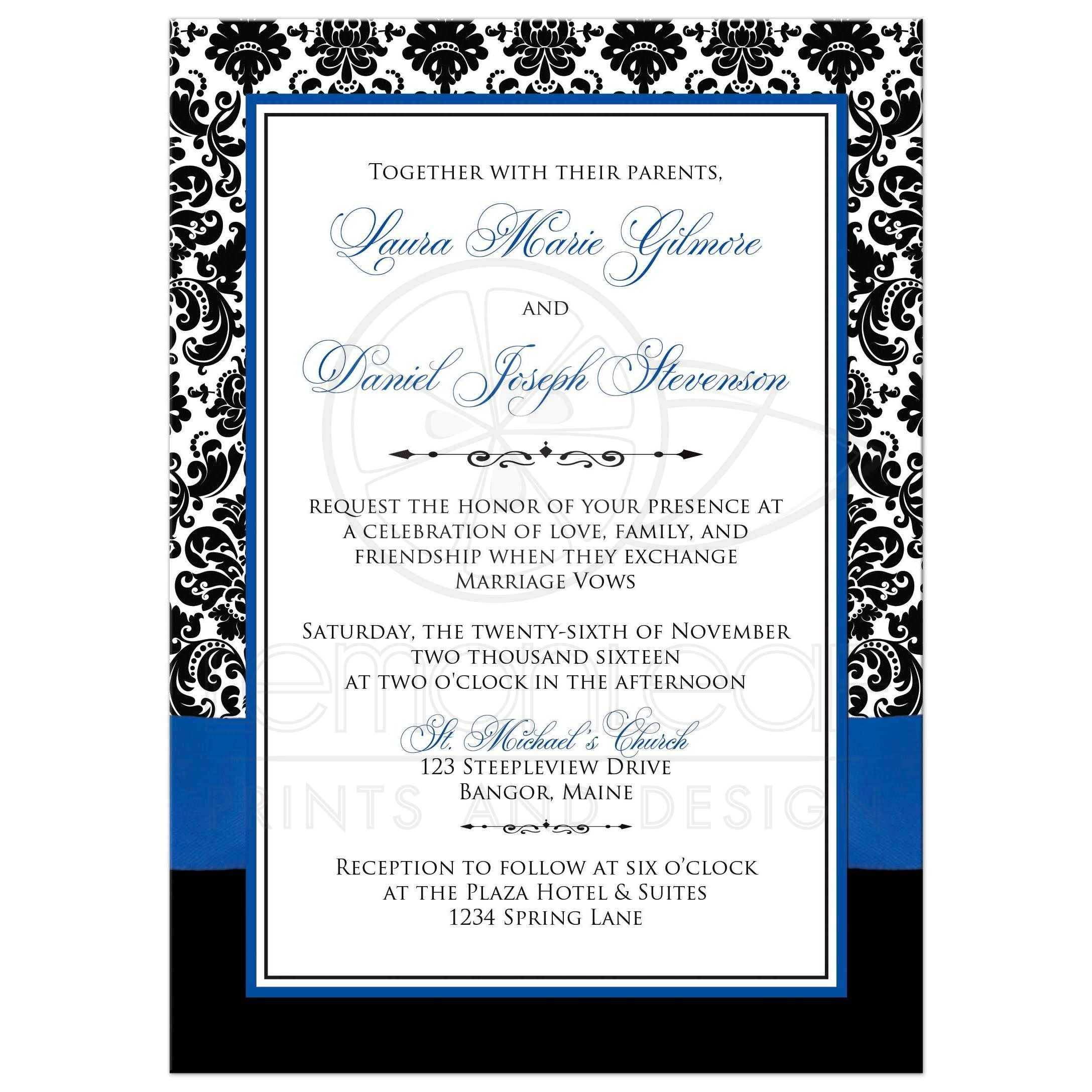 Royal Blue Wedding Invitation Template