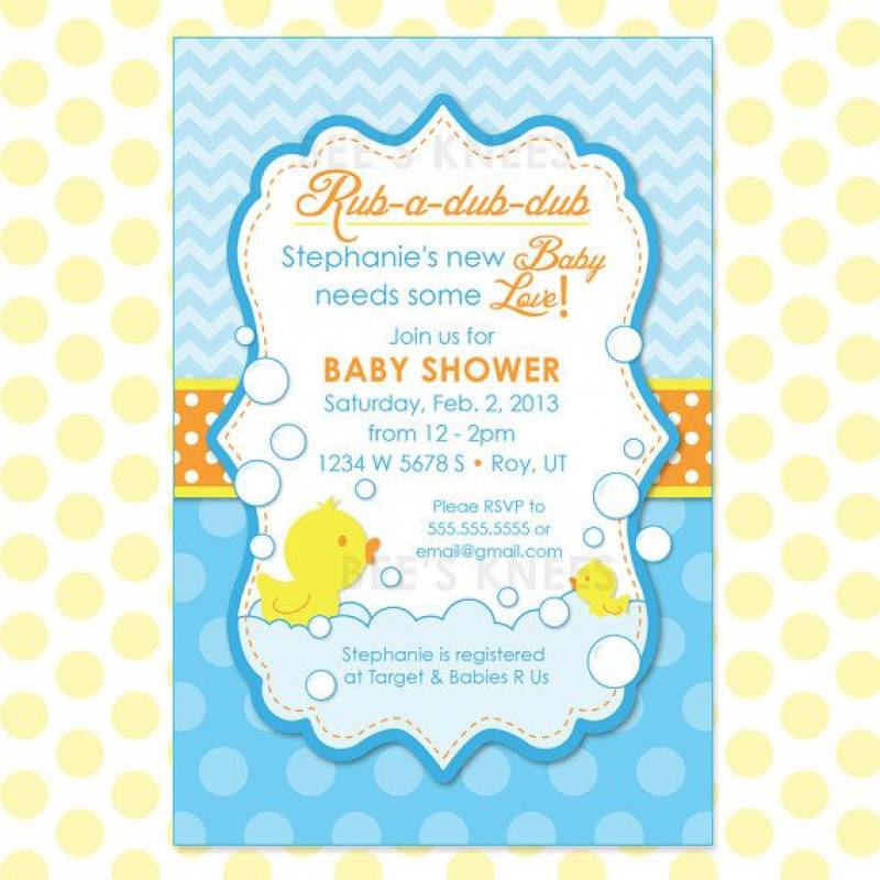 Rubber Duck Baby Shower Printable Invitations