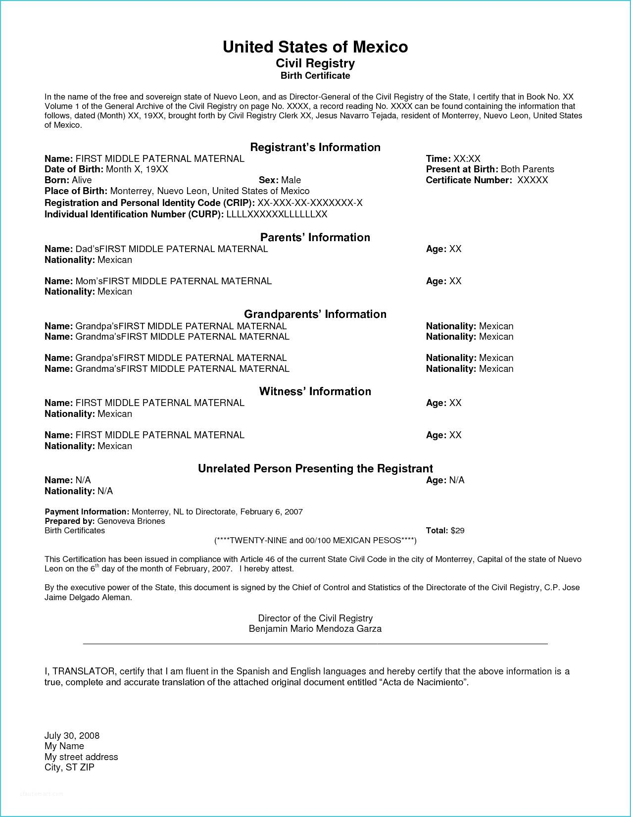 Russian Marriage Certificate Translation Template
