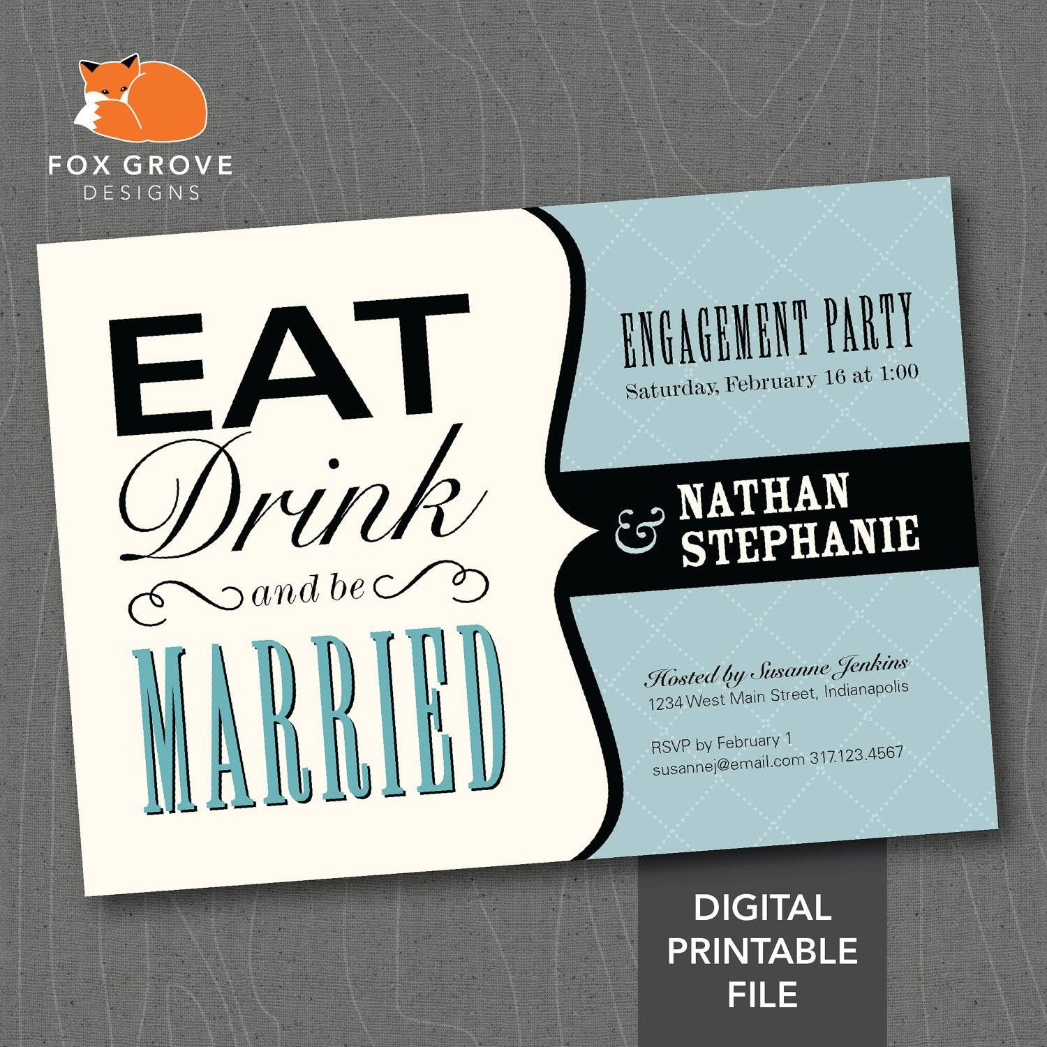 Rustic Engagement Party Invitation Templates