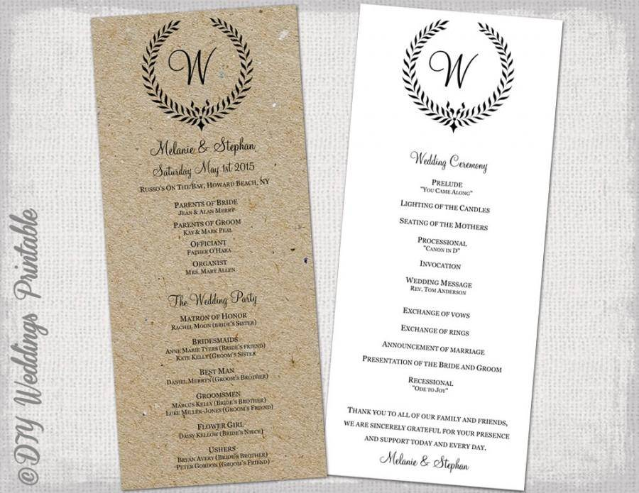 Rustic Wedding Ceremony Program Template