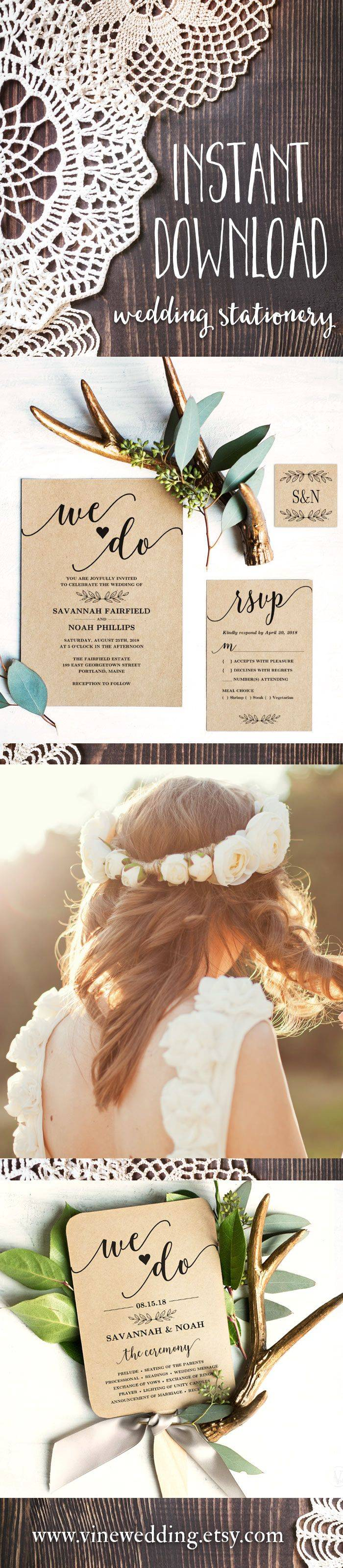 Rustic Wedding Stationery Templates
