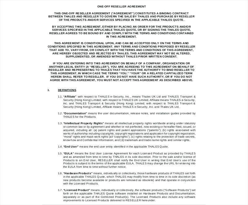 Saas Reseller Agreement Template