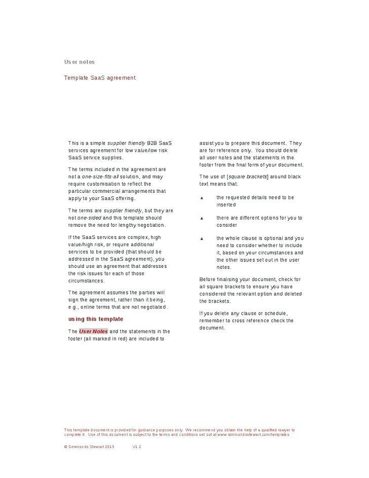 Saas Service Contract Template