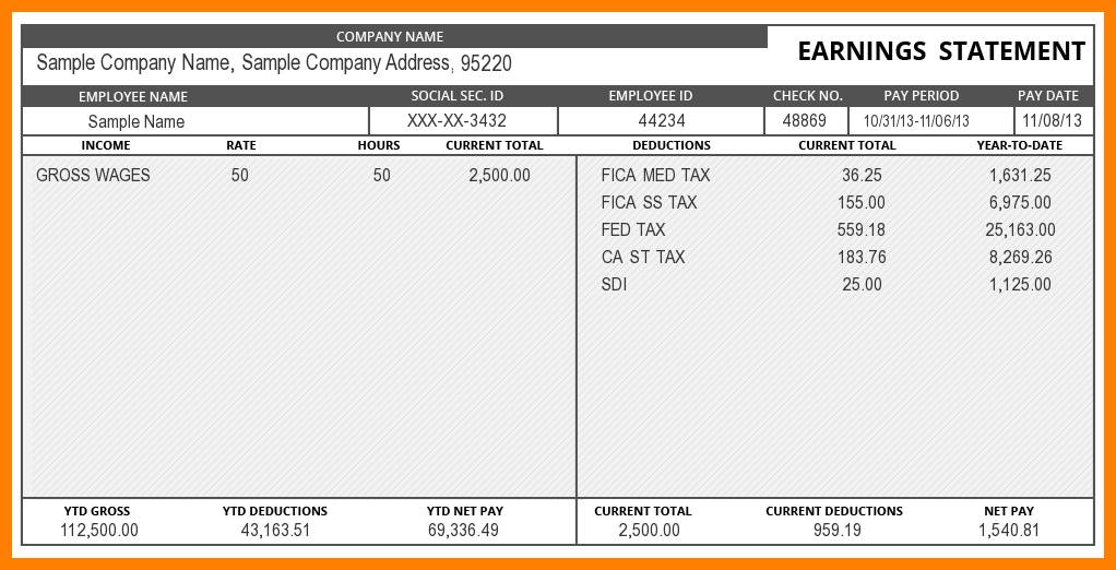 Salary Check Stub Template