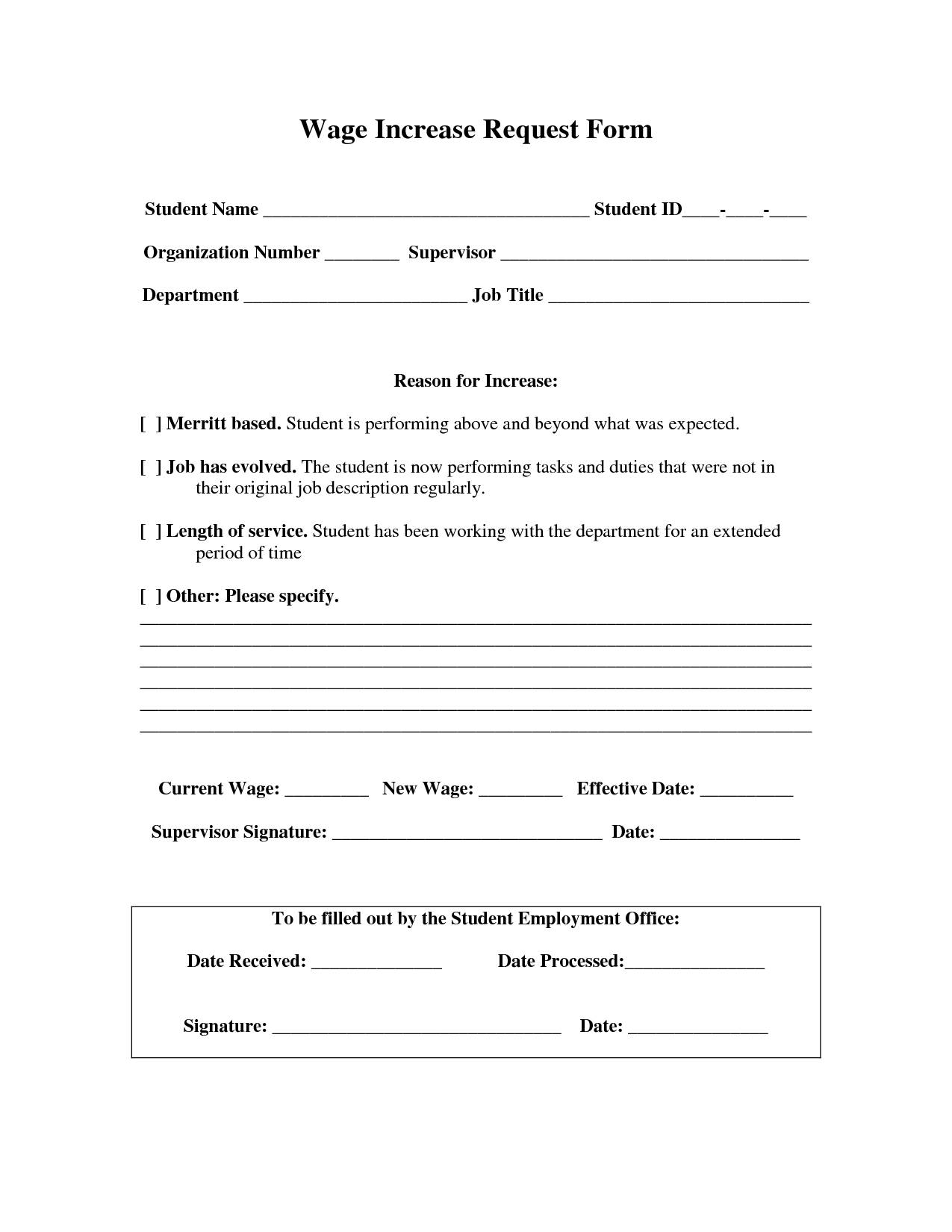Salary Increase Form Template