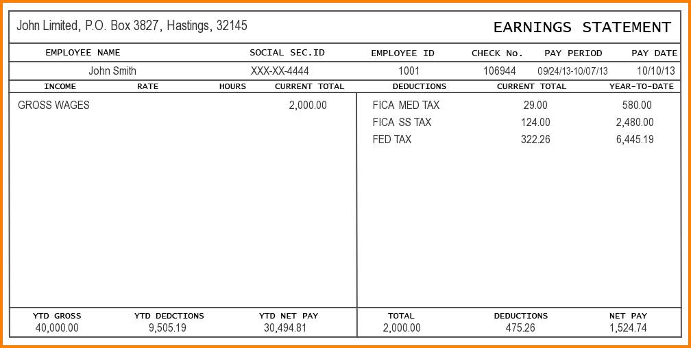 Salary Pay Stub Template Free