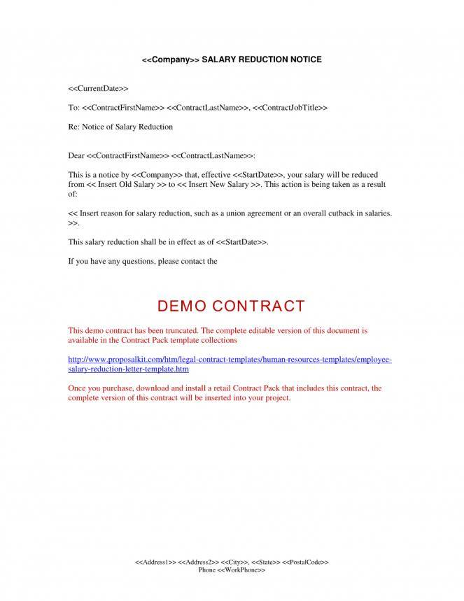 Salary Reduction Agreement Template