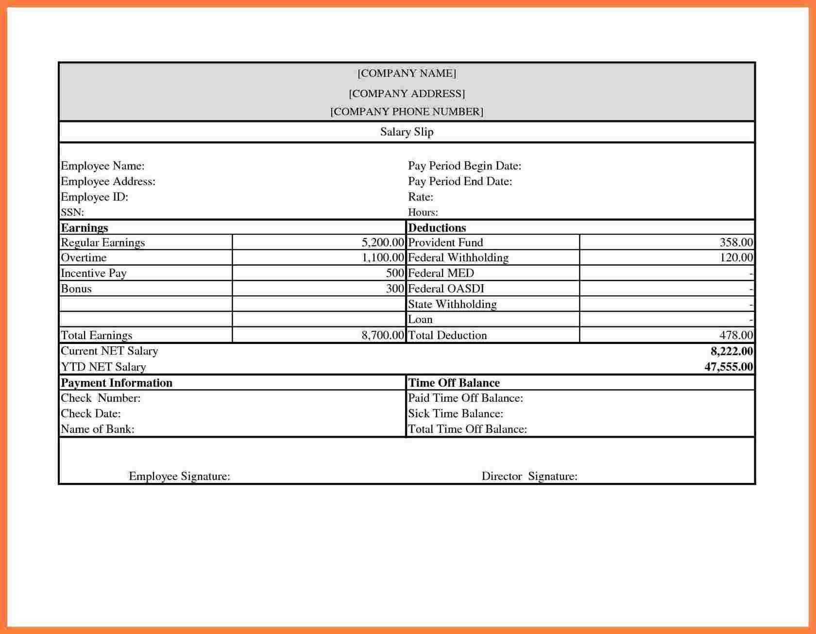 Salary Slip Template In Excel Free Download