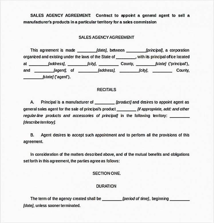 Sales Agent Agreement Form
