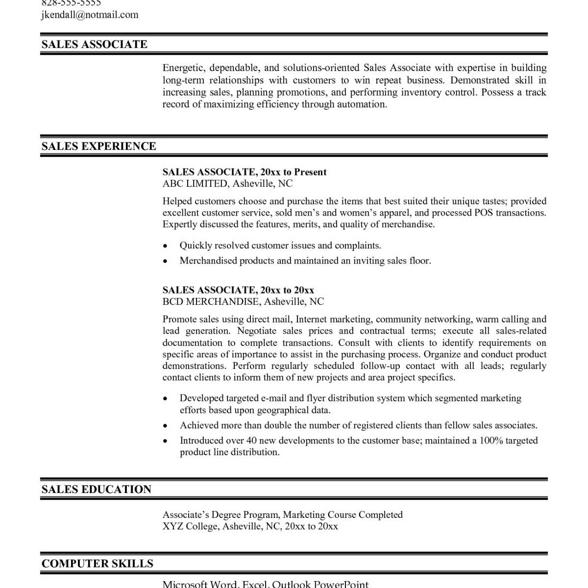 Sales Associate Resume Templates